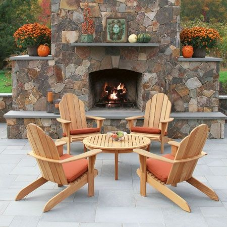 Teak Adirondack Chairs & Adirondack Footstools - Teak Outdoor Furniture - Country Casual
