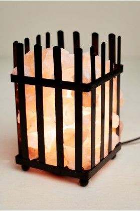 Salt Stone Lamp with Black Metal Fence - Earthbound Trading Co.
