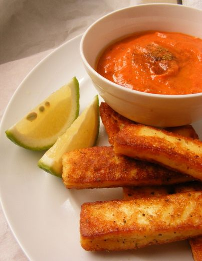 Peppered Halloumi with Red pepper tahina dip - or you could dip these into our Spiced Pear & Apple Chutney...