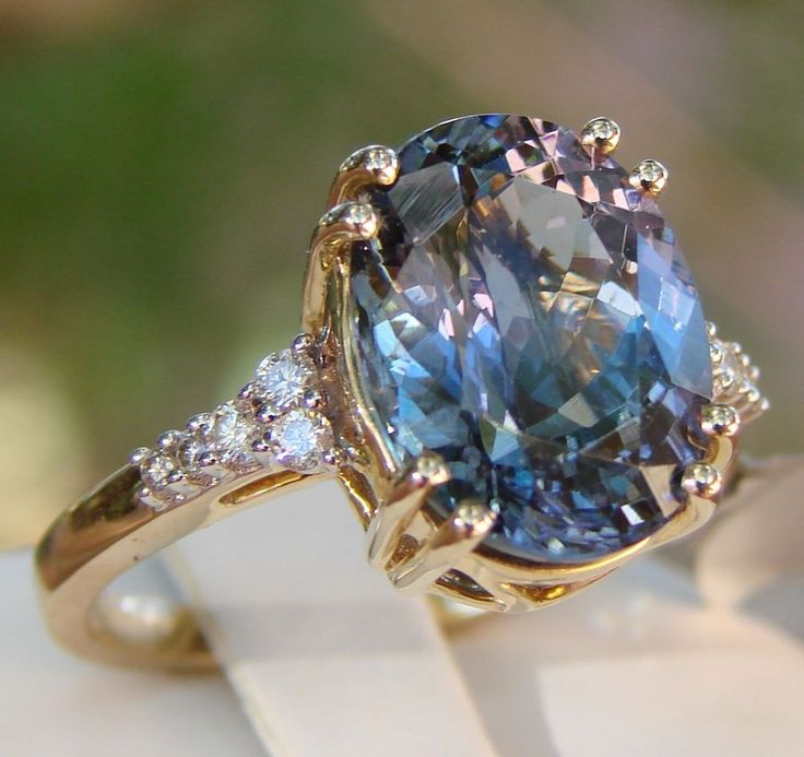Solid 14k Gold Bi-Color Tanzanite Solitaire with Diamond Accents Ring 5.95cts #SolitairewithAccents