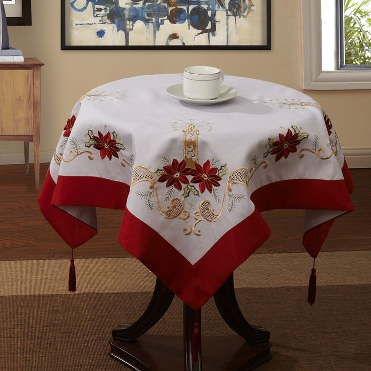 "33x33"" inches 85x85cm Christmas Decoration Candle Floral Table Cloth 