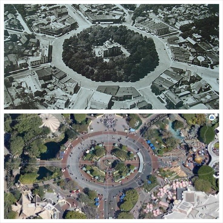 Walt Disney (whose father came from Huron County) and his wife visited Goderich in the 1950s. Their daughter wonders if the Square inspired Disneyland's layout. 1940s Goderich is above, today's Disneyland is below. What do you think?