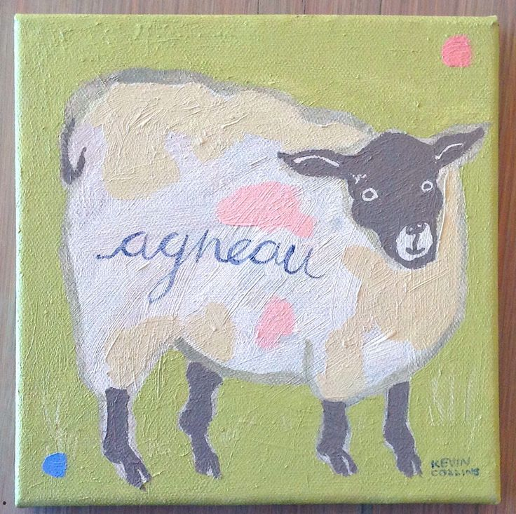 The title: The Italian Lamb Medium: Oil on canvas Size: 20 x 20 cm Year: 2017 Price: Total R1276 - 14% VAT R156 - 40% GALLERY R320 - 60% ARTIST R 800   The title: The French Lamb Medium: Oil on canvas Size: 20 x 20 cm Year: 2017