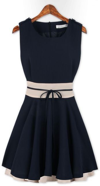 Dark Blue Patchwork Falbala Above Knee Chiffon Dress