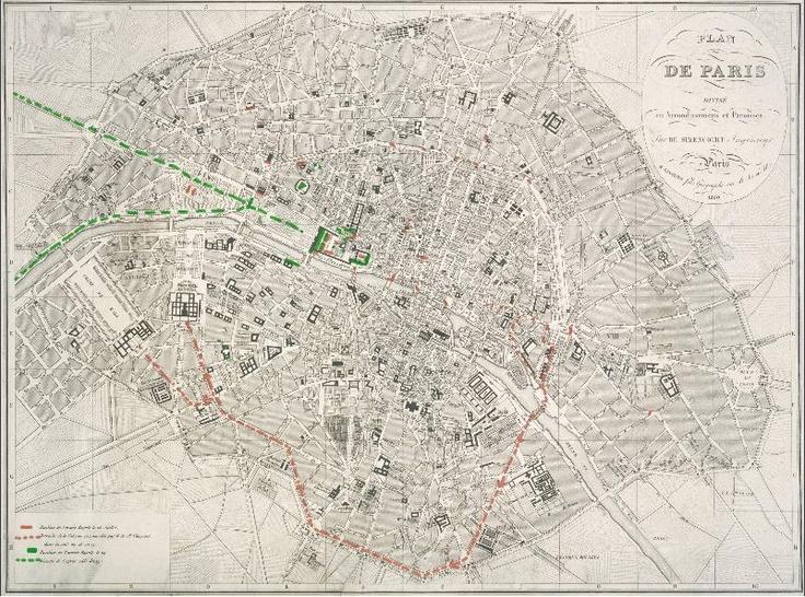Plan de Paris divisé en arrondissement et paroisses portant les mouvements de troupes effectués les 28 et 29 juillet 1830. Gravure Archives nationales, N/III seine 1236 © Archives nationales, France