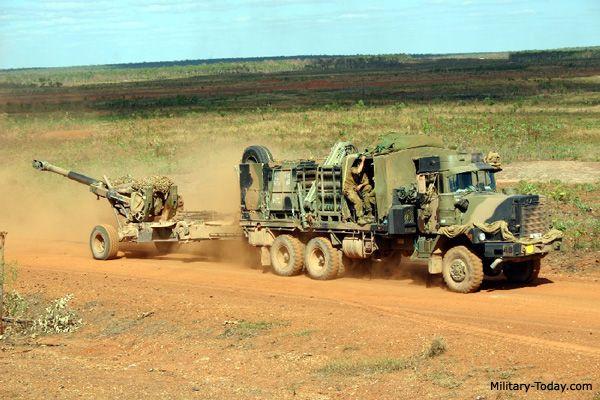 Australian Mack MC3 towing an M198 howitzer
