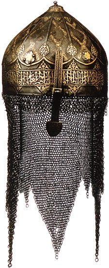 Helmet,c. 1293-1341, bears the name of the Mamluk sultan Ibn Qala'un.