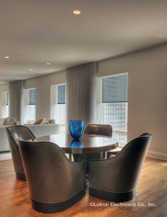 Modern dining rooms should have wireless shades to complement the beauty of the space.