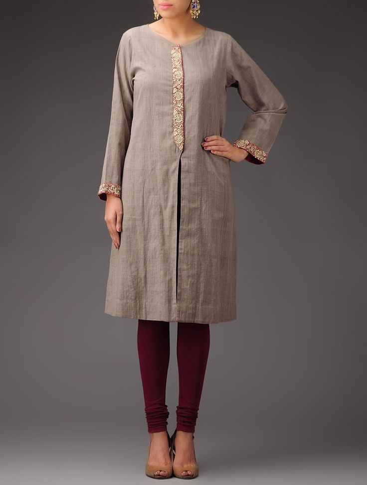 Buy Gargoyle Grey Peach Front Open Zari Detailed Khadi Kurta Apparel Tunics & Kurtas Ethnic Fiesta Chanderi and Meenakari Silver Jhumkis Online at Jaypore.com