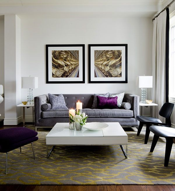 Gray And White Living Room With Purple Accents From Jane Lockhart Design