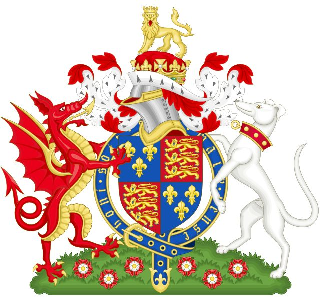 Henry Tudor flew the red dragon of Cadwaladr ap Cadwallon as his banner, overlaid on a green and white field representing the Tudor House, when he marched through Wales on his way to Bosworth Field. After the battle the flag was carried in state to St. Paul's Cathedral to be blessed.  Royal Badge