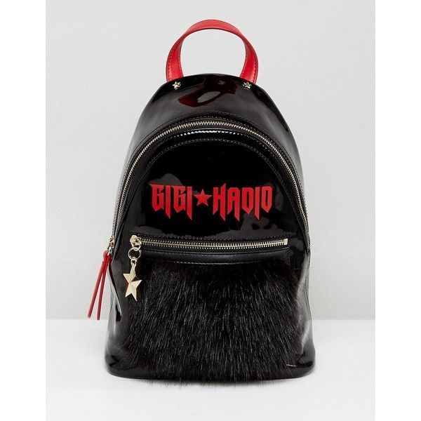 Gigi Hadid Mini Backpack in Patent and Mohair (€135) ❤ liked on Polyvore featuring bags, backpacks, black, american backpack, miniature backpack, day pack backpack, nautical backpack and mini rucksack