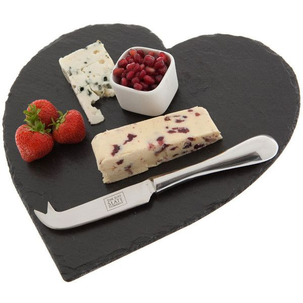 Just Slate Cheese Board - Heart (£21) ❤ liked on Polyvore featuring home, kitchen & dining, serveware, food, food & drinks, black, slate cheese board, cheese serving board, cheese board and cheese knife