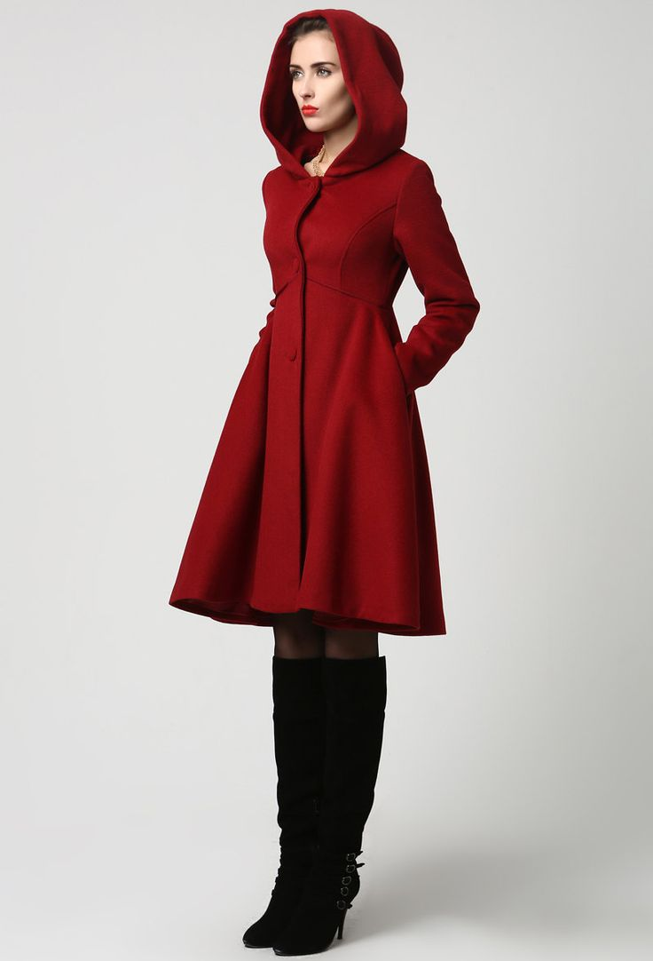 Red Wool Midi Coat with Hood (1117) by xiaolizi on Etsy