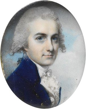 John Dyer Collier, miniature by George Engleheart, contemporary of Richard Cosway. Watercolor on ivory. (1785)