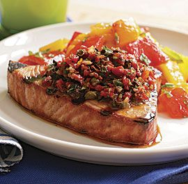 GRILLED TUNA WITH SUN-DRIED TOMATO, OLIVE AND CAPER RELISH   http://www.finecooking.com/recipes/grilled-tuna-sun-dried-tomato-relish.aspx  ⇨ Follow City Girl at link https://www.pinterest.com/citygirlpideas/ for great pins and recipes!  ☕