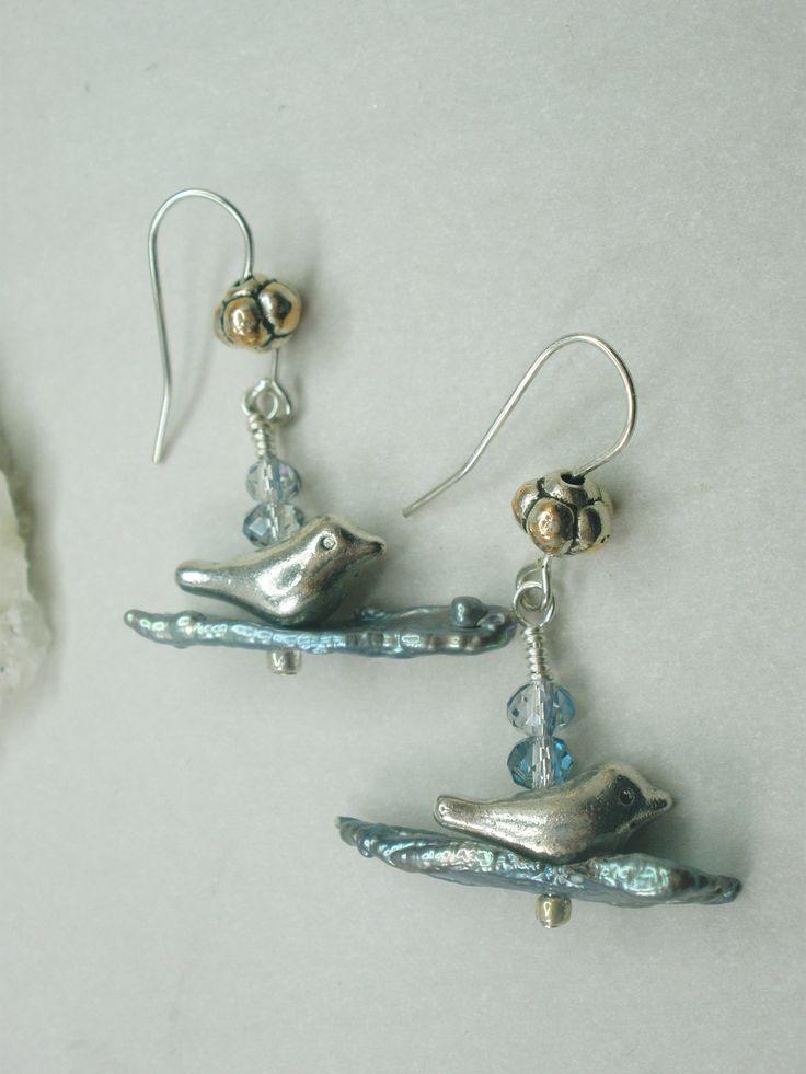 Biwa pearl and bird earrings, pearls, bird earrings, bird on a wire, bird lover, silver earrings, unique earrings, bird jewelry, beach, ooak by ArtandSoulStudios on Etsy