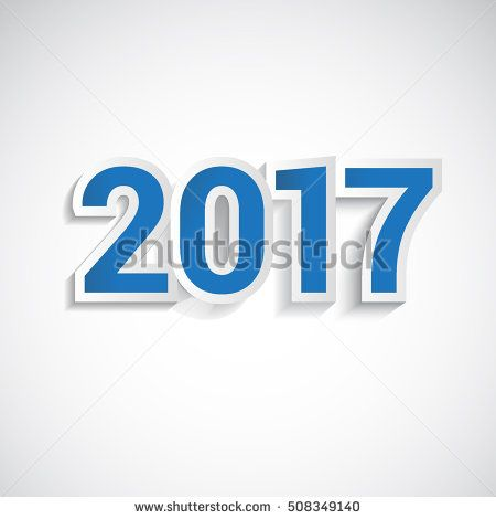 Happy New Year 2017, paper type colored blue isolated on white background. Greeting card template. Vector illustration.