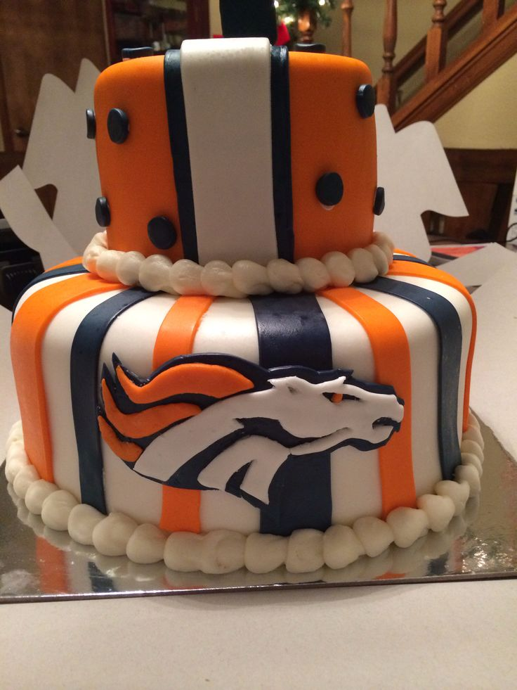 """Broncos Cake. My friend Kim made this cake. She is fabulous at any type of cake you want! Check her out at """"KimberAllie's Dream Cakes"""" on Facebook!"""