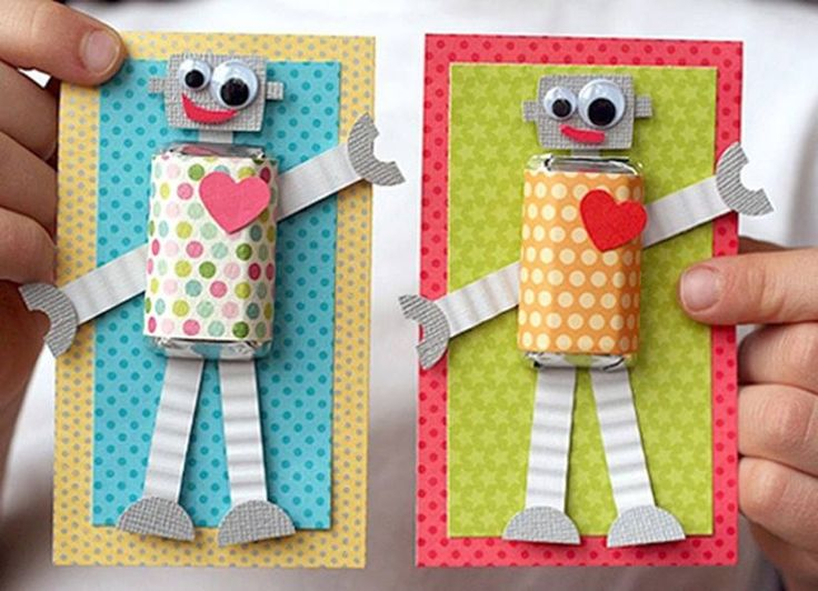 robot valentines day card box