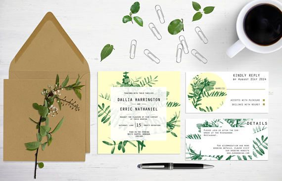 Minimal floral wedding invitation template with leaves