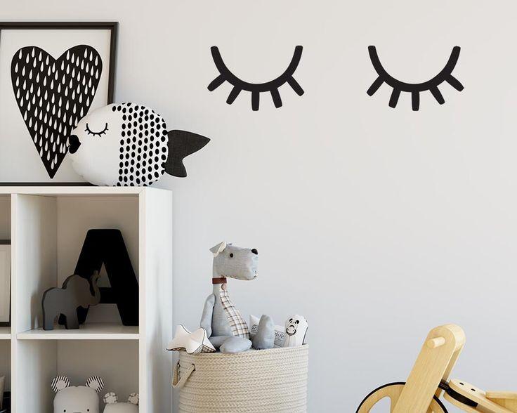 Unique Eyelash Wall Decals Sleepy Eyes Decal Nursery Decals Vinyl Wall Decals Nursery Wanddeko KinderzimmerKindergarten