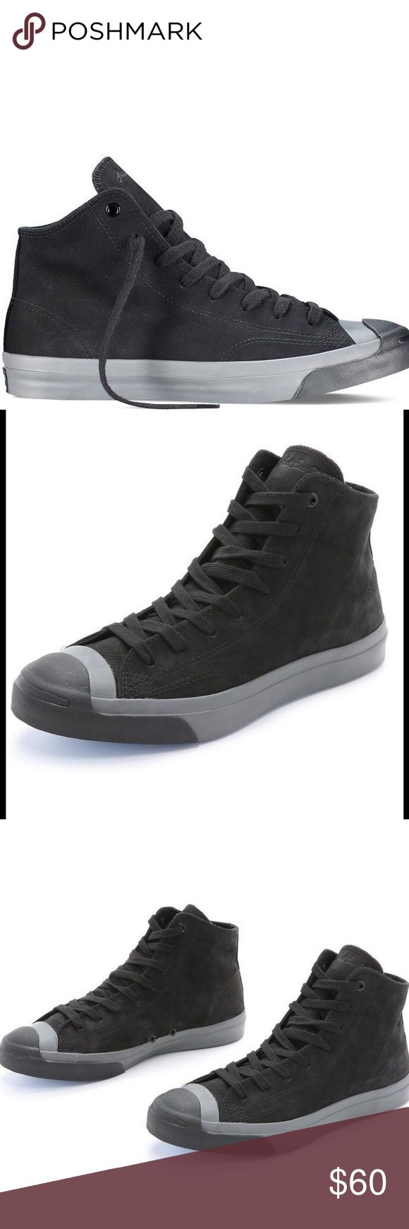 NWT🔶Converse Jack Purcell Jack Mid Top Nubuck Converse Jack Purcell Jack Mid Top Monochrome Nubuck RETAIL $90.                                              Please noted the box lid is removed. * Jack Purcell Jack Mid * Black/Black/Charcoal * Nubuck Uppers * Rubber Toecap * Vulcanised Sole * Defined Stitching Converse Shoes Athletic Shoes