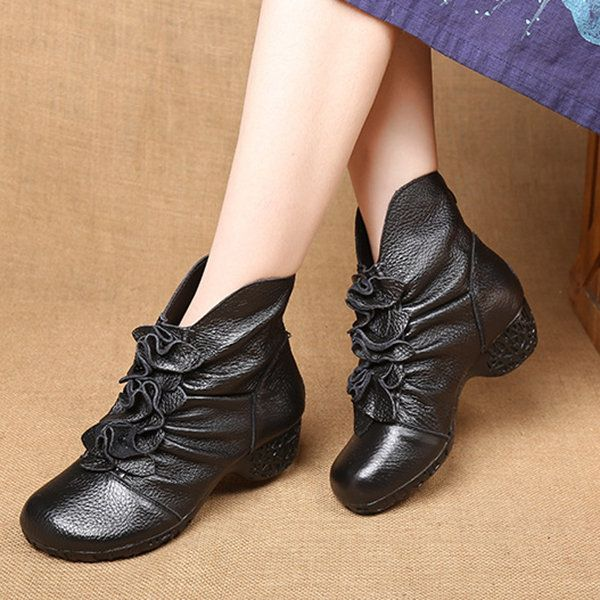 Womens Vintage Handmade Fashion Leather Boot Rose Floral Shoes Oxford Boots socofy Leather Ankle Bootie