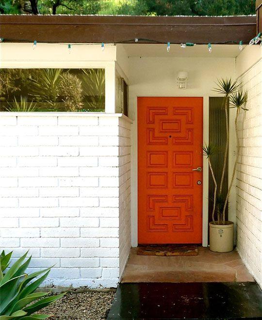 door!Red Doors, The Doors, Mid Century Modern Front Doors, Orange Front, Orange Doors, Colors Front Doors Modern, House, Midcentury, Doors Colors