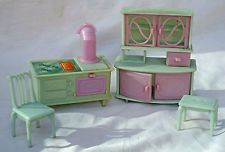 JEAN WEST GERMANY VINTAGE DOLLS HOUSE KITCHEN FURNITURE DRESSER OVEN CHAIR 1/16