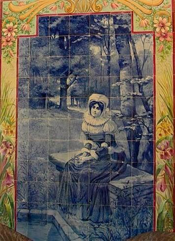 INÊS DE CASTRO (início do séc. XX) - Painel de azulejos do pintor, ceramista, ilustrador e caricaturista Jorge Colaço (1864-1942). Palácio Hotel do Buçaco.