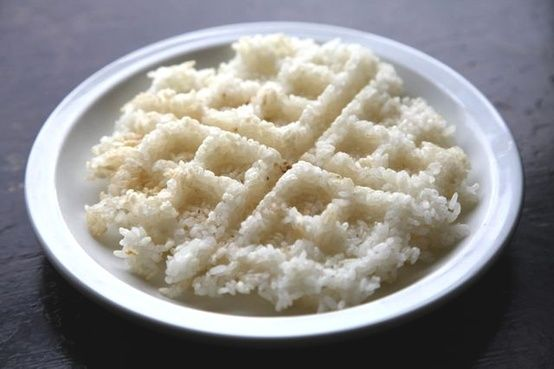 rice in a waffle maker! Crispy and yum they say. Oooh with butter too?? Bet that is delish!!