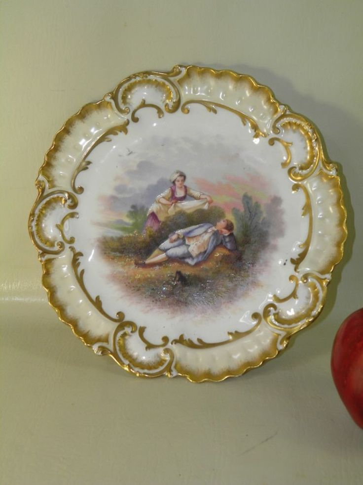 ANTIQUE LIMOGES CHARGER PLATE HAND PAINTED ARTIST SIGNED  VICTORIAN SCENE