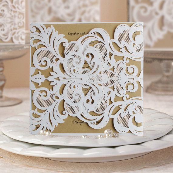 50 White Lace Wedding Invitation Covers With by WishmadeCards