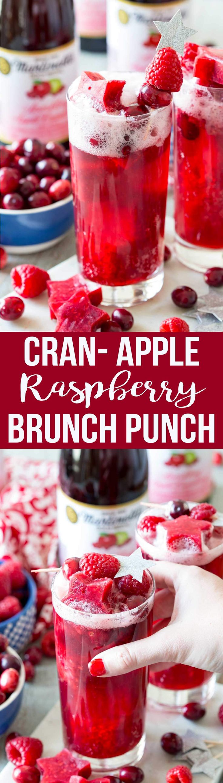 Apple Cranberry Raspberry Sparkling Brunch Punch is so simple to make and tastes amazing #ad #Martinellis