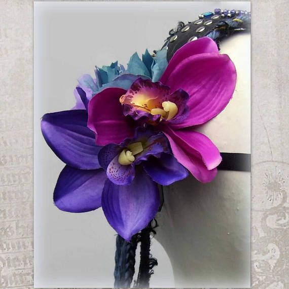 Tribal Fusion Headdress Violet Flower Festival Headband