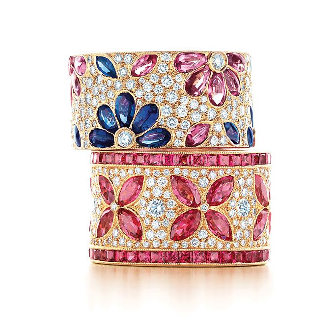 Brides: Tiffany & Co.. 18k gold Daisy band with diamonds, and pink and blue sapphires, and 18k gold flower ring with diamonds and pink sapphires, prices upon request, both Tiffany & Co.