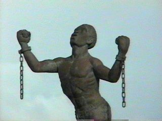 """The Emancipation Statue, commonly referred to by many Barbadians as """"Bussa"""", a leader of the 1816 Slave Rebellion in Barbados and National Hero of #Barbados."""