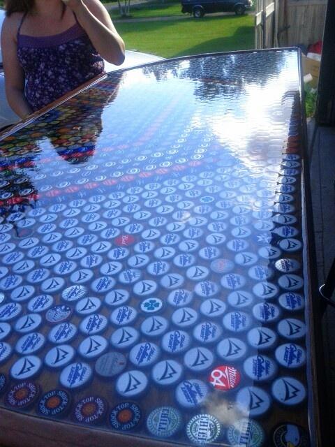 Beer bottle cap bar top beer cap ideas pinterest for Beer cap bar top