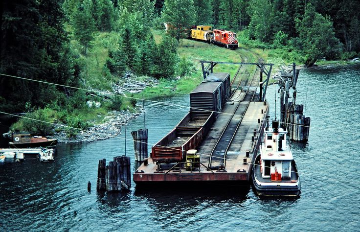Canadian Pacific Railway local freight train unloading from the barge that brought it across Slocan Lake in Rosebery, British Columbia, on July 14, 1983. Photograph by John F. Bjorklund, © 2015, Center for Railroad Photography and Art. Bjorklund-38-08-19