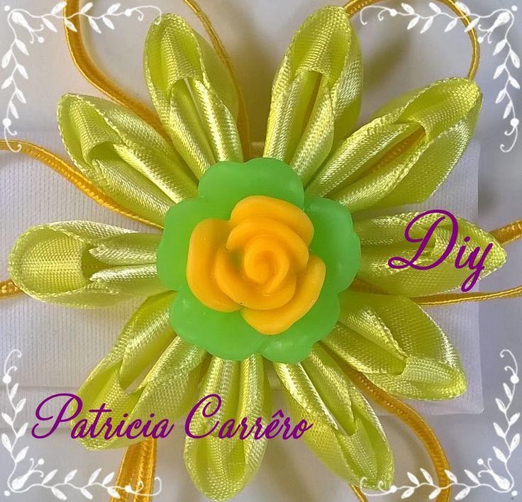 Faixa de cabeça com flor de fita com soutache DIY \ Headband with ribbon flower with soutache DIY
