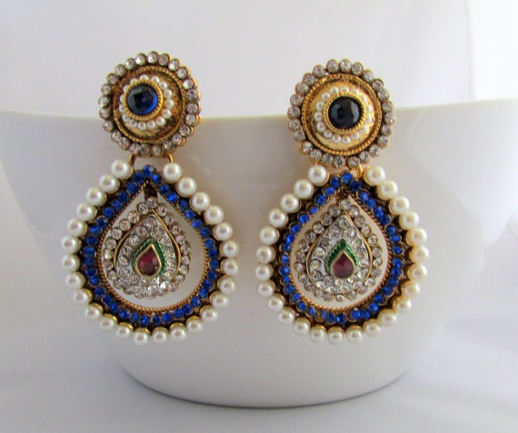 Chandelier Earrings Jhumka bollywood Indian by RumiCollections, $32.00