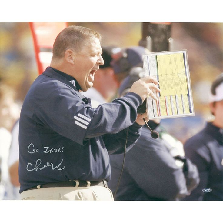 Charlie Weis Yelling from Sidelines w Go Irish Insc. 16x20 Photo - Charlie Weis graduate of the University of Notre Dame made his name in the coaching world as the offensive coordinator of the New England Patriots. After helping them to win four different Super Bowls Weis then decided to return to his alma mater as the head football coach. He coached at Notre Dame from 2005 to 2009 before accepting the job as head offensive coordinator for the Kansas City Chiefs. Charlie Weis has hand signed…