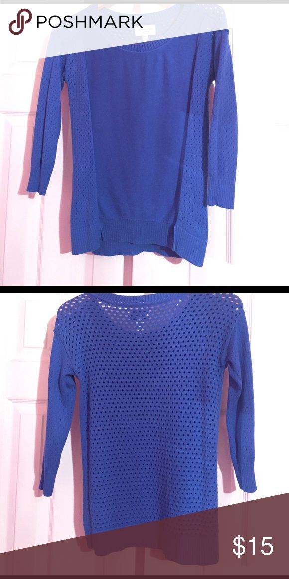 AEO royal blue sweater Rich royal blue sweater. Three quarter length sleeves. Crochet back. Barely worn! American Eagle Outfitters Sweaters Crew & Scoop Necks