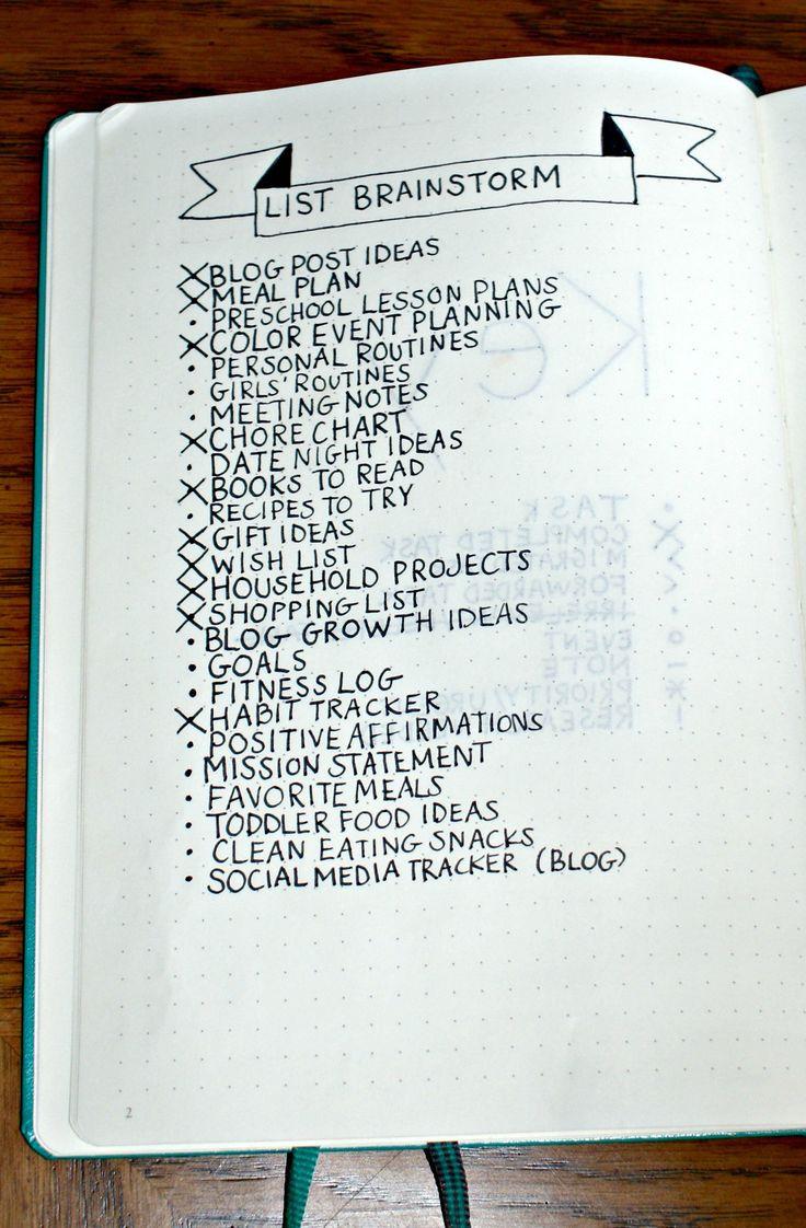 Bullet Journal List Brainstorm