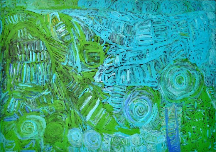 Sonia Kurarra, Martuwarra, 20!4, acrylic paint on canvas, 137.5 x 97.5 cm. Mangkaja Arts, Aboriginal and Pacific Arts, Sydney.