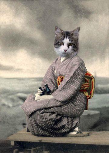 Neko Chan, Cat Print, Anthropomorphic, Whimsical Art, Collage Art, Vintage Cat…