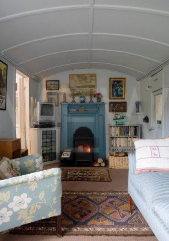 Whin Bridge Railway Carriage House, Eype, Dorset Carriage interior/photograph © James Brittain