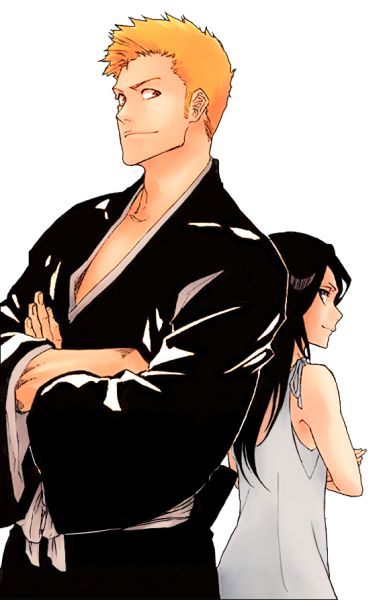 Cover the last volume of Bleach. Ichigo Kurosaki, Rukia Kuchiki (Abarai?). Friends forever.