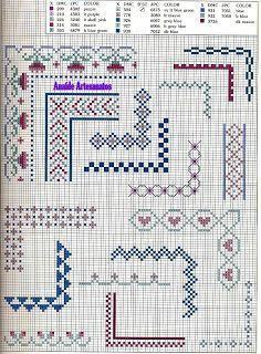 Anaide Ponto Cruz: Lindos gráficos de ponto cruz de barrado de canto.